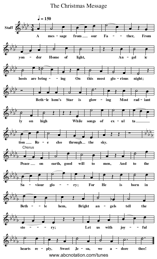 The Christmas Message - staff notation