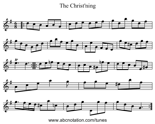 The Christ'ning - staff notation
