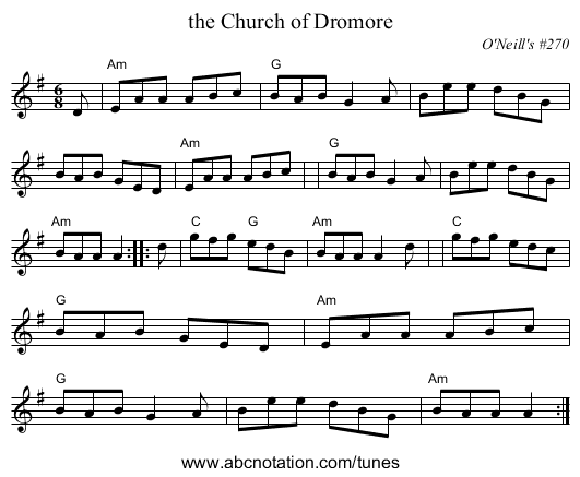 the Church of Dromore - staff notation