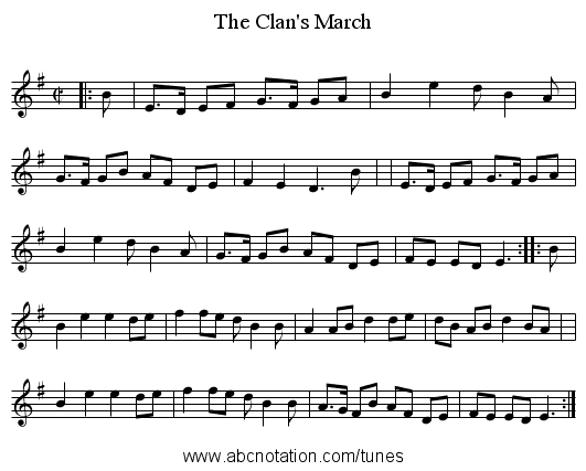 The Clan's March - staff notation