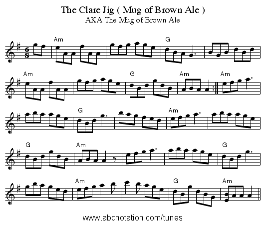 The Clare Jig ( Mug of Brown Ale ) - staff notation