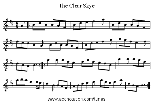 The Clear Skye - staff notation