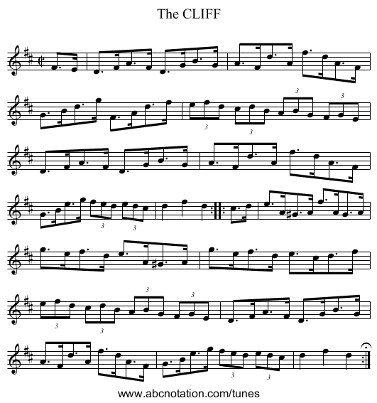 The CLIFF - staff notation