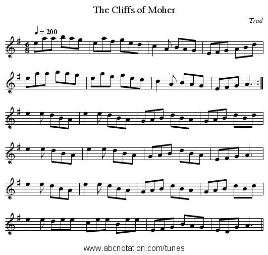The Cliffs of Moher - staff notation