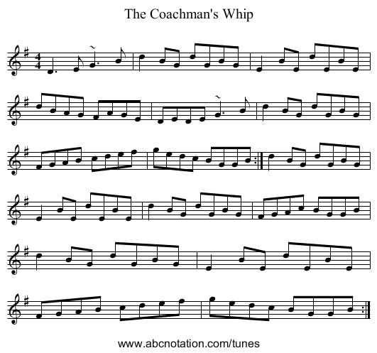 The Coachman's Whip - staff notation