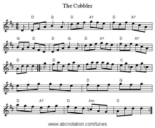 The Cobbler - staff notation