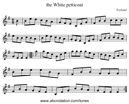 the Cobbler's Hornpipe - staff notation