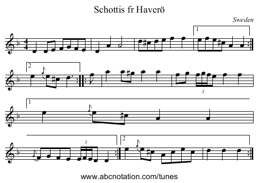 the Cock of the North - staff notation