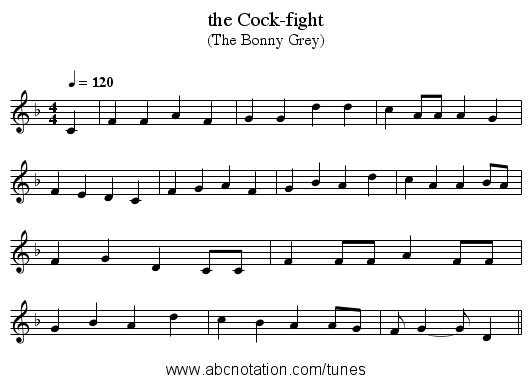 the Cock-fight - staff notation