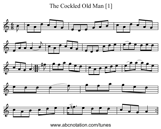The Cockled Old Man [1] - staff notation