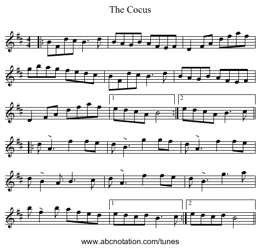 The Cocus - staff notation