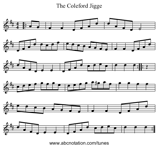 The Coleford Jigge - staff notation