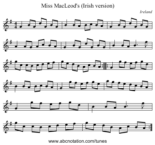 the College hornpipe - staff notation