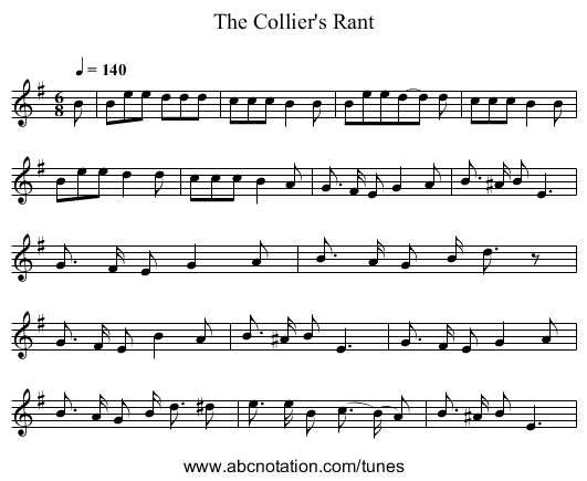 The Collier's Rant - staff notation