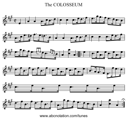 The COLOSSEUM - staff notation