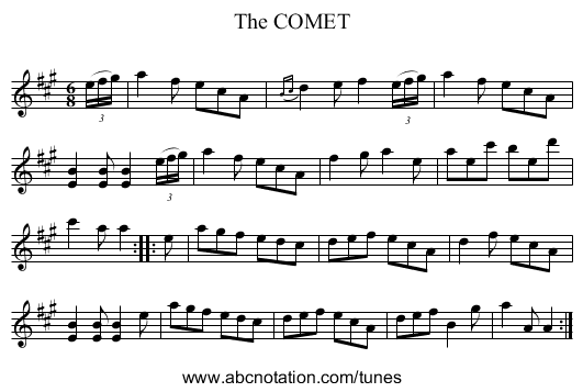 The COMET - staff notation
