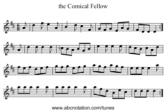 the Comical Fellow - staff notation