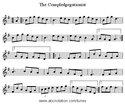 The Compledgegationist - staff notation