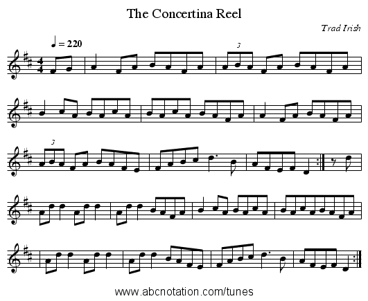 The Concertina Reel - staff notation