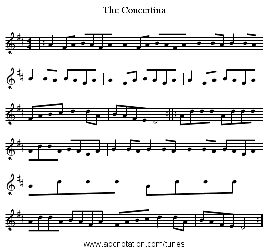 The Concertina - staff notation