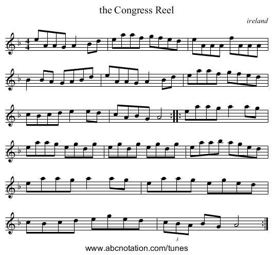 the Congress Reel - staff notation
