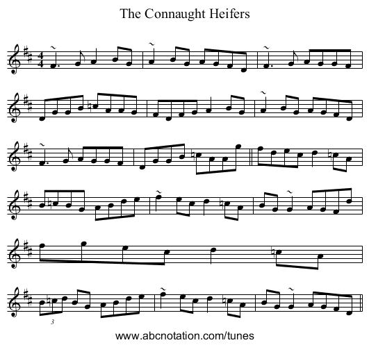 The Connaught Heifers - staff notation