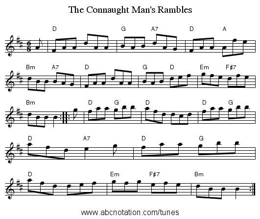 The Connaught Man's Rambles - staff notation
