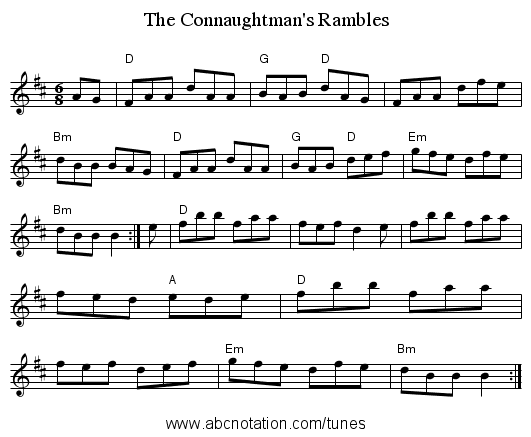 The Connaughtman's Rambles - staff notation