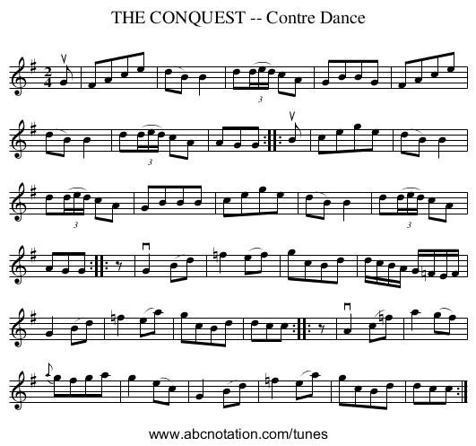THE CONQUEST -- Contre Dance - staff notation