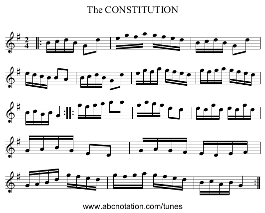 The CONSTITUTION - staff notation