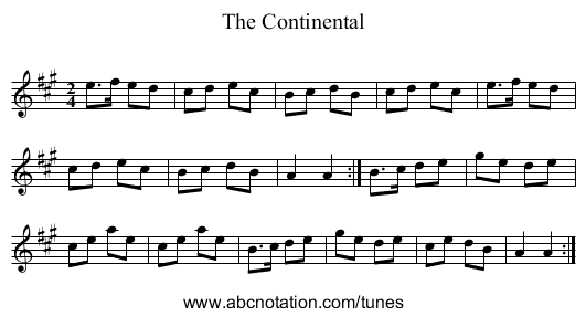 The Continental - staff notation