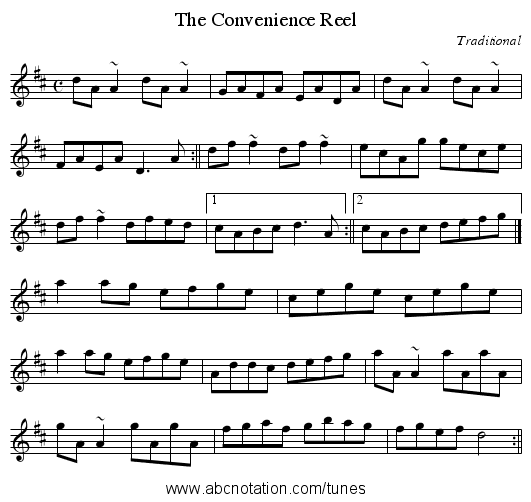 The Convenience Reel - staff notation