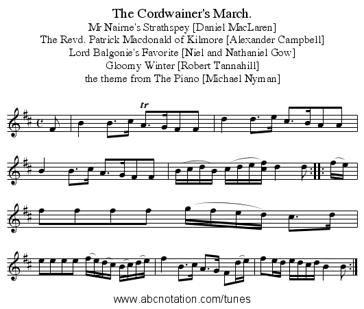 The Cordwainer's March. - staff notation