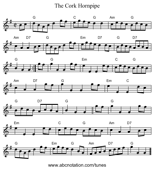 The Cork Hornpipe - staff notation