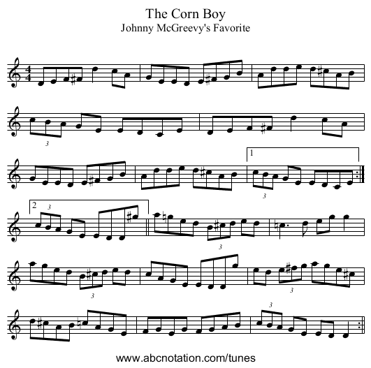 The Corn Boy - staff notation