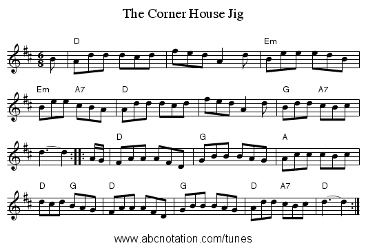 The Corner House Jig - staff notation