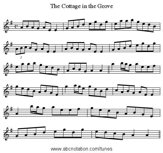 The Cottage in the Grove - staff notation
