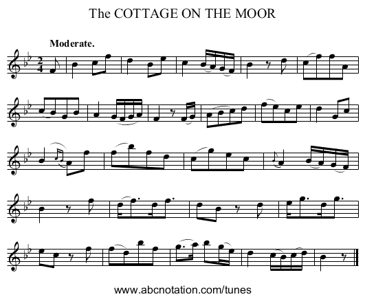 The COTTAGE ON THE MOOR - staff notation