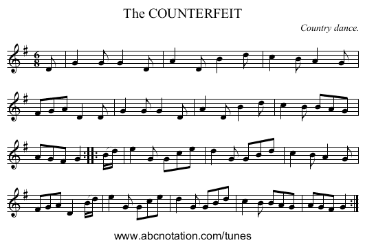 The COUNTERFEIT - staff notation