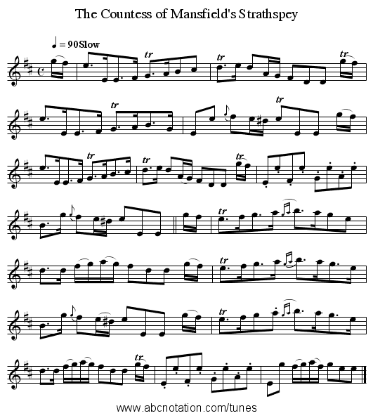 The Countess of Mansfield's Strathspey - staff notation