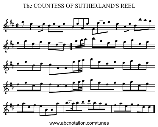The COUNTESS OF SUTHERLAND'S REEL - staff notation