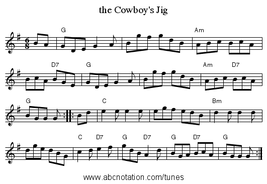 the Cowboy's Jig - staff notation