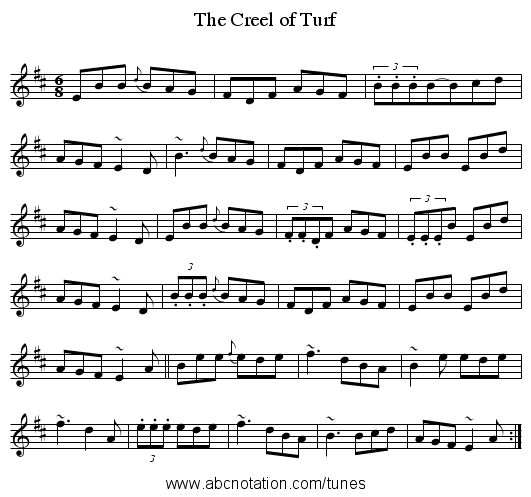 The Creel of Turf - staff notation