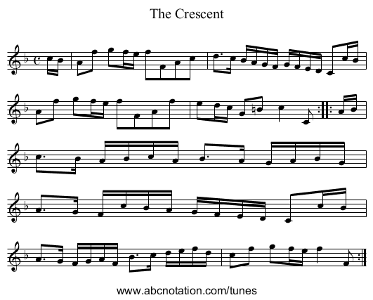 The Crescent - staff notation