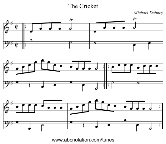 The Cricket - staff notation