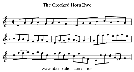The Crooked Horn Ewe - staff notation