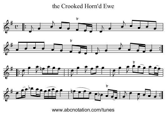 the Crooked Horn'd Ewe - staff notation