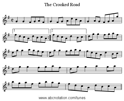 The Crooked Road - staff notation