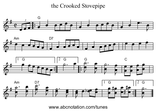 the Crooked Stovepipe - staff notation