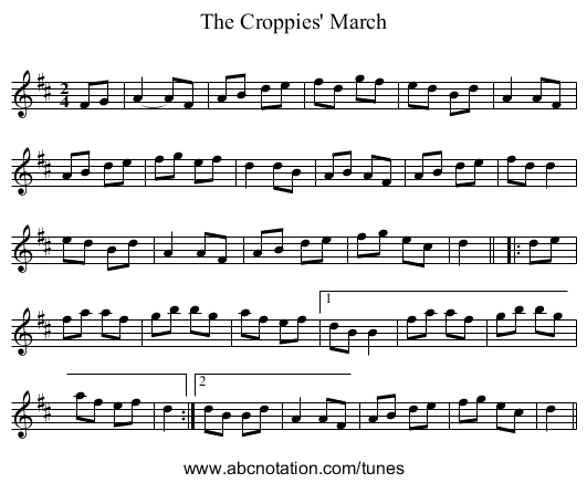 The Croppies' March - staff notation